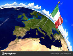 Italy World Map by Italy National Flag Marking The Country Location On World Map 3d
