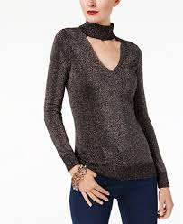 michael kors sweaters michael michael kors metallic choker sweater created for macy s