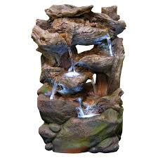 Outdoor Water Fountains With Lights Alpine Stacked Rock Waterfall Outdoor Fountain With Led Lights