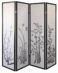Panel Shoji Screen Room Divider - 3 panel flower design wood shoji screen room divider ebay