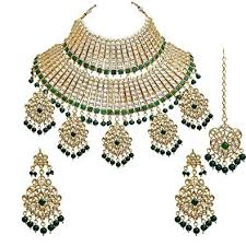 bridal necklace set gold images Buy lucky jewellery green gold plated kundan bridal necklace set jpg