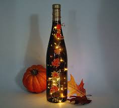 wine bottle light thanksgiving decoration autumn leaves orange