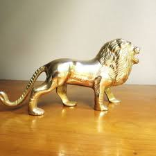 metal lion statue vintage brass lion figurine gold lion from dewy morning vintage