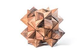 24 piece star 3d mechanical interlocking wooden puzzle wood