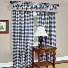 Blue Buffalo Check Curtains Achim Semi Opaque Buffalo Check Poly Cotton Window Curtain