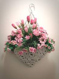 hanging flowers heart wicker artificial flower hanging basket all pink special