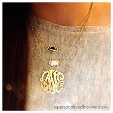 my monogram necklace a monogram necklace and two kendra necklaces layer
