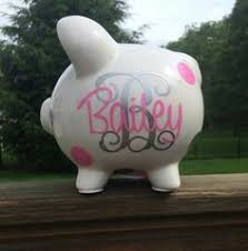 Monogram Piggy Bank Large White And Silver Traditional Monogram Personalized Piggy