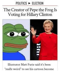Creator Of Memes - politics election the creator of pepe the frog is voting for hillary
