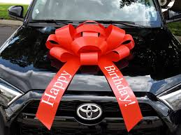 white lexus with red bow 30 happy birthday car bow with magnetic base extra large