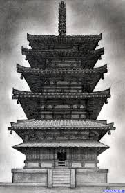 how to draw a pagoda japanese pagoda step by step buildings