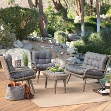 Patio Conversation Sets Sale by Belham Living Kambree All Weather Wicker Outdoor Conversation Set