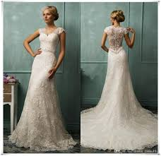 vintage ivory wedding dress 2016 vintage ivory lace mermaid wedding dress v neck back
