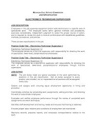 Government Contractor Resume Technician Duties Generator Test Engineer Sample Resume