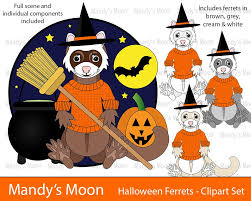 halloween ferrets clipart set personal u0026 nonprofit use only