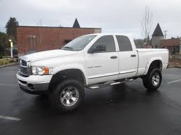 white dodge truck 2005 dodge ram 1500 hem cab white flares lifted mags so