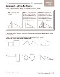 Similar And Congruent Figures Worksheet Congruent And Similar Figures Reteach 4th 5th Grade Worksheet