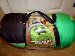 Minecraft Comforter Set Twin 4pc Bed Set Bonus Tote Reversible Comforter Creeper Bedding