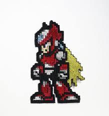 Megaman Halloween Costume Pixel Art Megaman Shiny Metallic Embroidery Iron