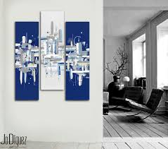 Tableau Triptyque Contemporain by Original Peinture Abstraite 40 X 41
