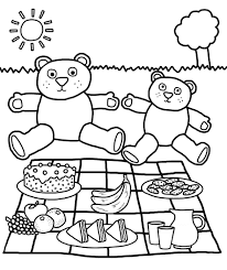 family picnic coloring page with coloring pages eson me