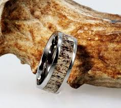 deer antler wedding band tungsten ring with a deer antler inlay mens wedding band