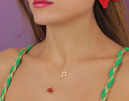 stone charm necklace images Necklace gold clover necklace lucky necklace orange stone jpg