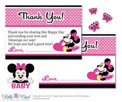 minnie mouse thank you cards girl minnie mouse thank you card printable for baby girl