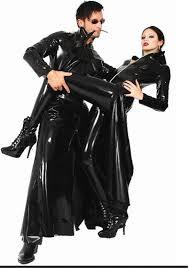 Trench Coat Halloween Costume Wholesale Cosplay 2015 Costume Men Womens Cool Black Pvc Halloween