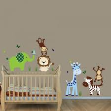 Safari Nursery Wall Decals Green Blue Safari Nursery Wall Decals With Stickers For