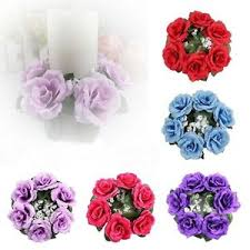 flower candle rings wreath unity roses wedding decoration silk flower candle