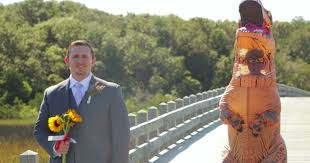 T Rex Costume Bride Perfectly Trolls Her Groom In A Ridiculous T Rex Costume