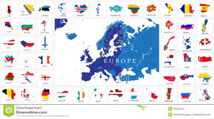 Europe Flag Map by Europe Countries Flag Maps Stock Vector Image 49422925