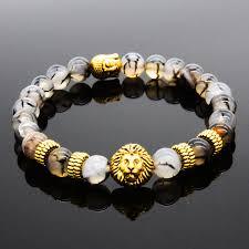 bead bracelet charm images Natural stone bracelet gold lion buddha bracelets men bangles rich jpg