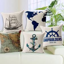 pillow case map seaman anchor sailing boat cushion cover diy