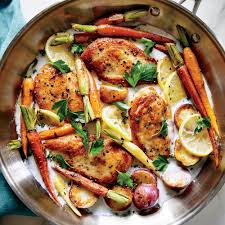 thanksgiving chicken dishes skillet chicken with roasted potatoes u0026 carrots recipe myrecipes
