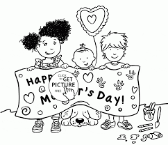 cute kids and happy mother u0027s day coloring page for kids coloring