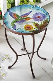 Patio Table Glass Top Tiffany Style Hummingbird Iron U0026 Glass Table For In Or Outdoor Use