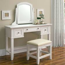 White Leather Bedroom Chair Bedroom Makeup Vanity In White With Drawers And Spinning Mirror