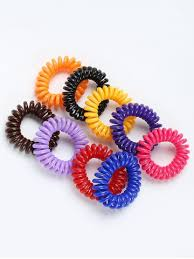 hair band colormix telephone wire rubber elastic hair band set rosegal