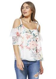 shoulder blouse buy f f floral print chiffon cold shoulder blouse from our women s