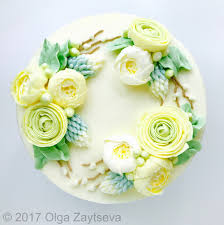 flower cakes ranunculus buttercream flower wreath cake olga zaytseva