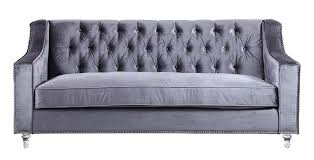 Grey Tufted Sofa by Furniture Modern Velvet Tufted Sofa With Silver Nailhead Trim And