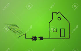 ecological electricity symbols solar energy in black color