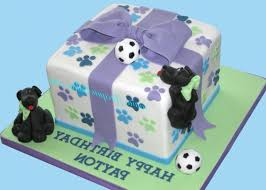 square fondant covered cake with sugarpaste dogs bow and soccer