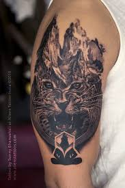 double exposure leopard tattoo by manohar koli aliens tattoo