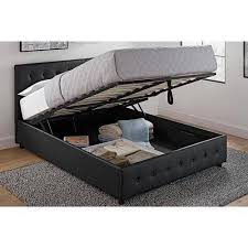 Tufted Bed With Storage Dhp Cambridge Upholstered Bed With Storage Black Faux Leather