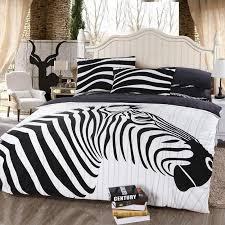 Zebra Print Duvet Cover Black And White Jungle Animal Themed Zebra Print Full Size Flannel