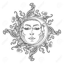 fairytale style sun and crescent moon with a human
