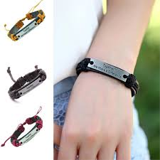 make men bracelet images Together we make a difference genuine leather bracelet charm cuff jpg
